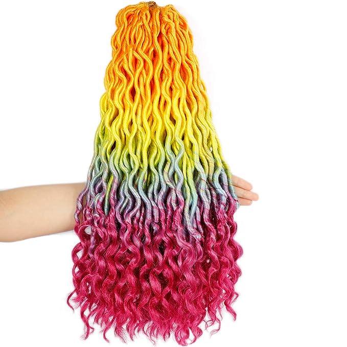 Rainbow hair accessory Boho faux-locs hair accessory MISTY RAINBOW Clip in cotton Hair wrap Hippie jewellery Plastic-free hair extension