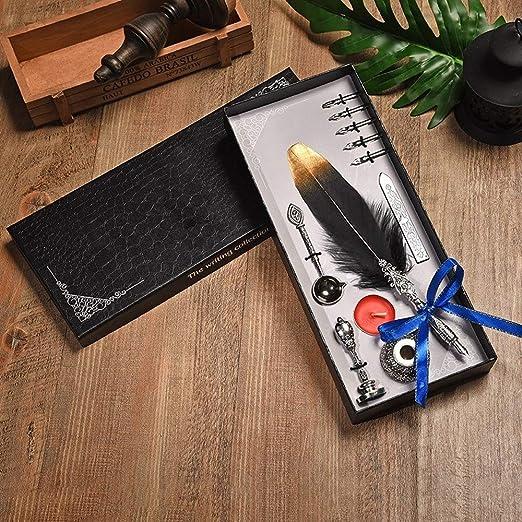 ZHQHYQHHX Escritura de la Pluma Boda Caja Pluma Inglés caligrafía Pluma de la Pluma de Escritura Vela Laca Pluma Pluma Gift Set (Color : Negro, Size : Gratis): Amazon.es: Hogar