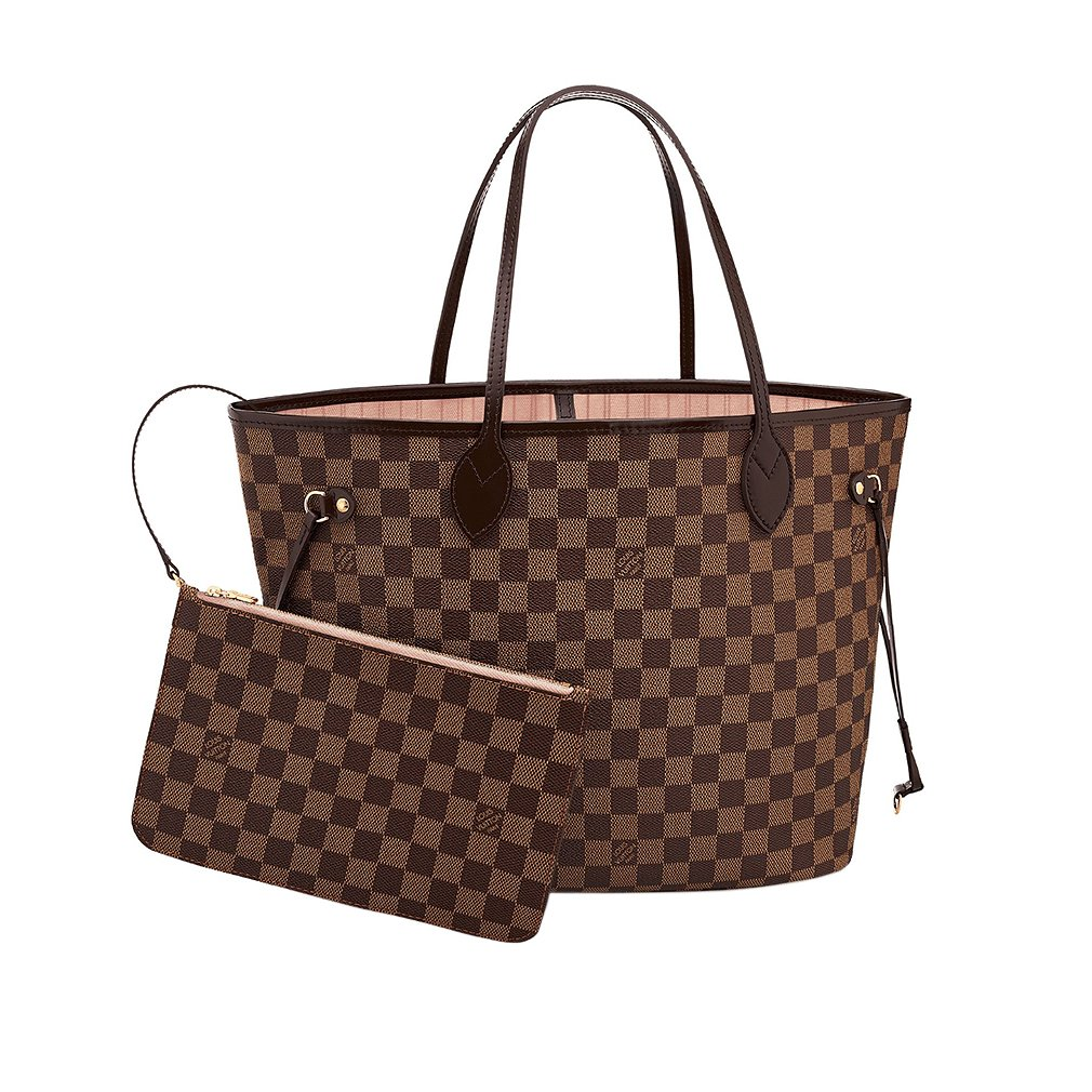 8783e4459c0f Amazon.com  Louis Vuitton Damier Canvas Neverfull MM Rose Shoulder Handbag  Article  N41603 Made in France  Shoes