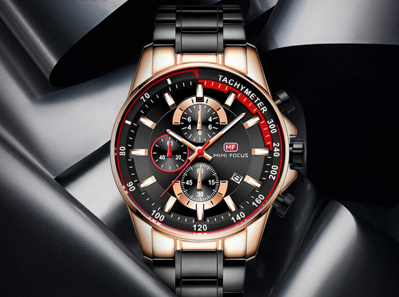 Smartwatches, lysande vattentät kvartsklocka mode stålbälte hastighetsklocka tre ögon timing kalender 03 stålskal svart stålremsa
