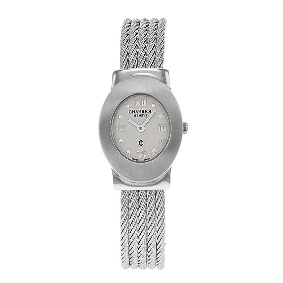 Charriol Azuro acero inoxidable cuarzo reloj de pulsera para mujer: Amazon.es: Relojes