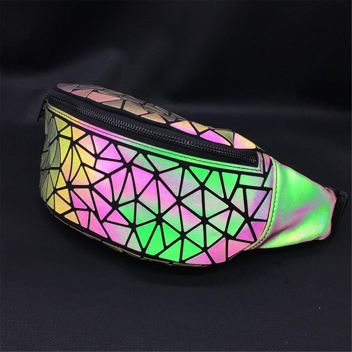 BeautyWJY Geometric Small Fashion Pu Leather Waist Fanny Pack Bag for Girls /& Women Cellphone Pouch 1#
