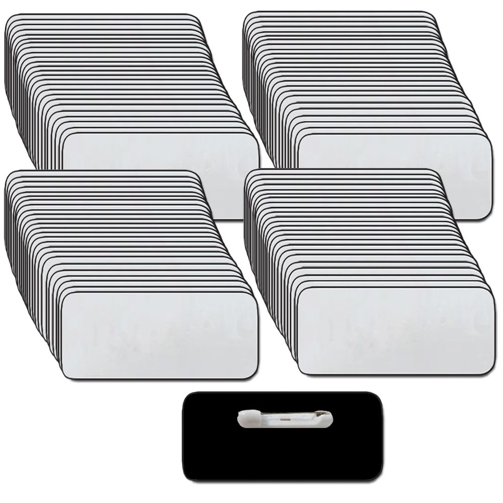 Name Tags/Badges and Pin Fasteners Unattached - 100 Pack Bulk Silver/Black Blank Plastic 1/4th Rounded Corners 1.5'' X 3'' by ABC Badges and Buttons (Image #1)