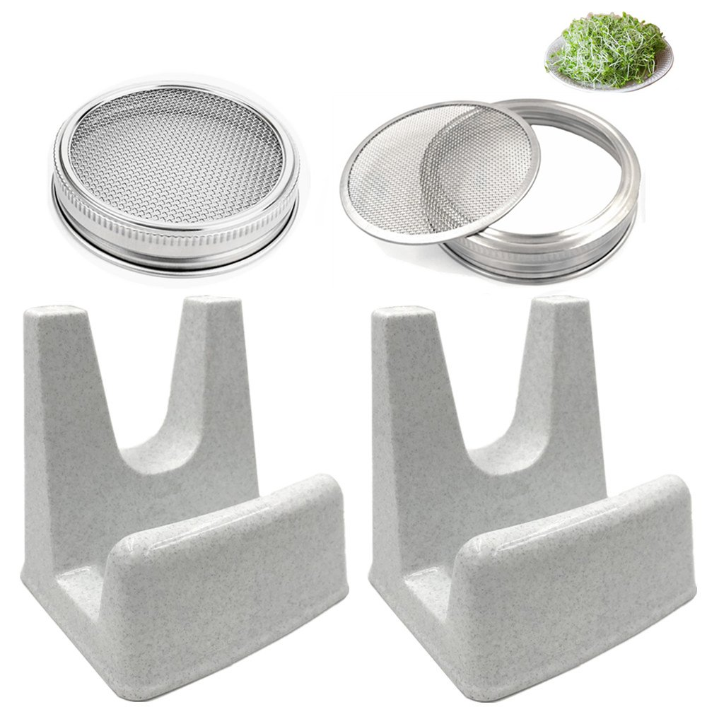 CHBKT Stainless Steel Sprouting Jar Lid Fit for Wide Mouth Mason Jars and Sprouting Stands with Water Tray for Making Organic Sprout Seeds in Your House/Kitchen