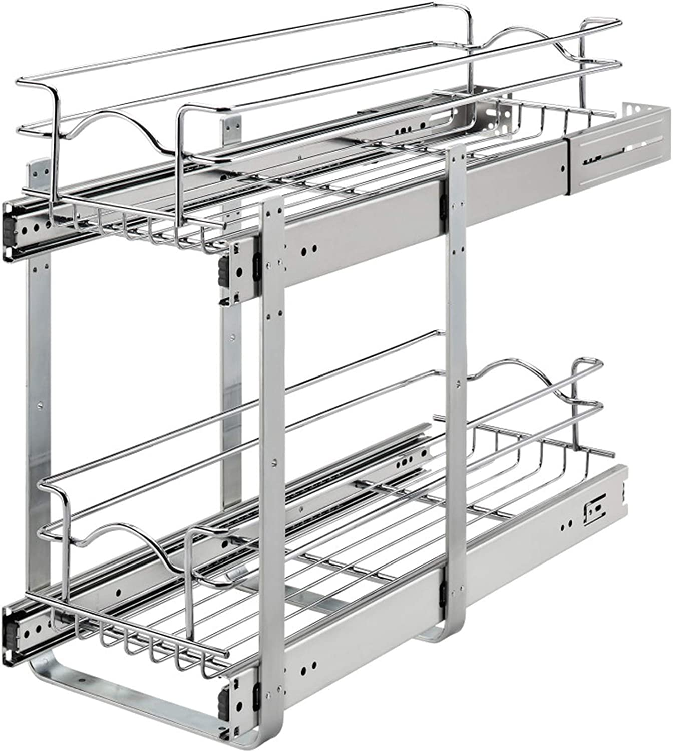Rev-A-Shelf 5WB2-0922CR-1 9 x 22 Inch Two-Tier Kitchen Organization Cabinet Pull Out Storage Wire Basket, Chrome