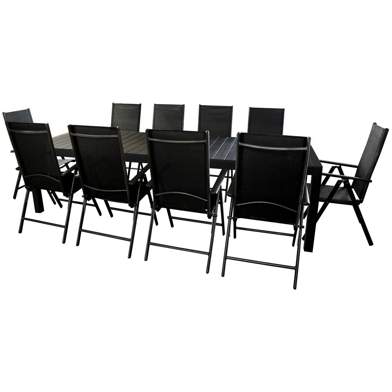 Sitzgruppe Gartenmöbel Terrassenmöbel Sitzgarnitur Gartengarnitur - Gartentisch ausziehbar 205/275x100cm, Polywood Tischplatte + 10x Hochlehner, 2x2 Textilenbespannung, 7-fach verstellbar - schwarz