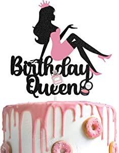 AERZETIX Birthday Queen Cake Topper Makeup LadyCrown High Heel Cake Decorations Silhouette for Girls Women Makeup Spa Themed Birthday Party Decor Supplies