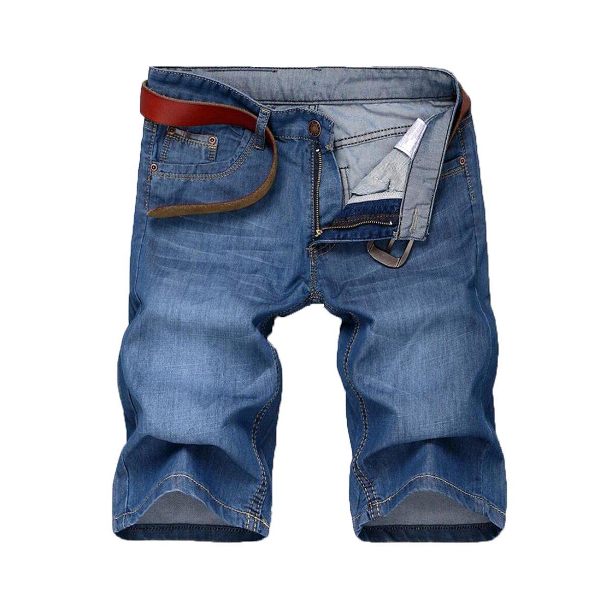 Futtle Men's Short Jeans Casual Light Weight Slim Fit Relax Regular Comfort Travel Denim Biker Half Pants (Light blue20, 33)