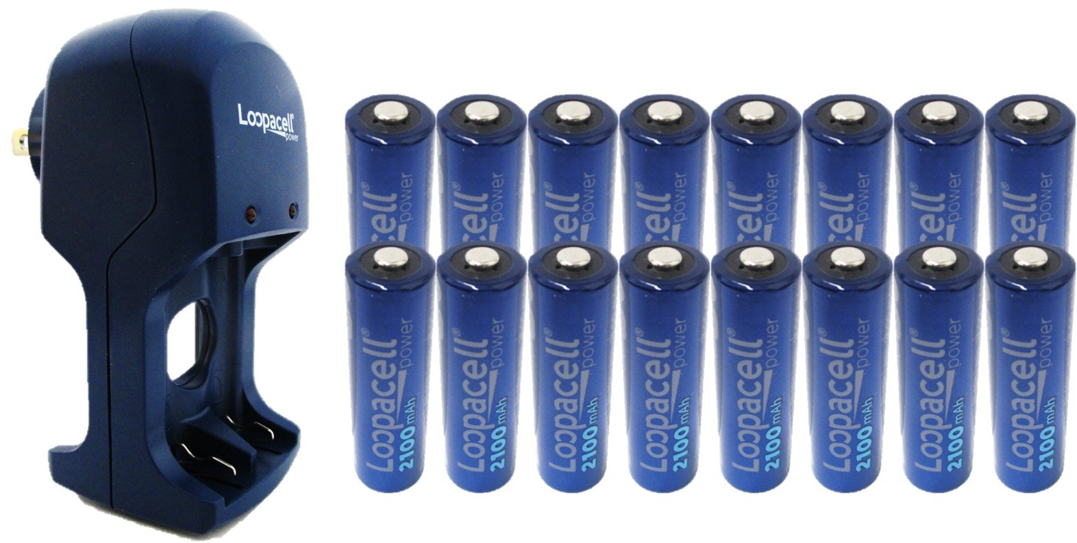 16 Loopacell AA 2100mAh Rechargeable Precharged Ni-MH 1.2V Batteries with AA & AAA Battery Charger