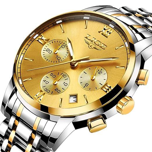 Relojes para Hombres Marca de Lujo LIGE Reloj analógico de Cuarzo para Hombre Impermeable Acero Inoxidable Reloj Deportivo Hombre Oro Reloj De Vestir De ...