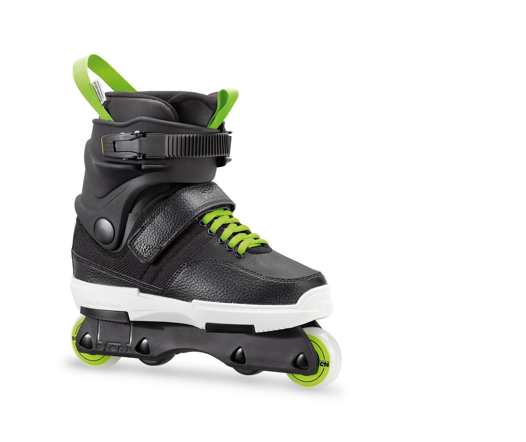 Rollerblade NJR Kid's Size Adjustable Street Inline Skate, Black and Green, High Performance Inline Skates