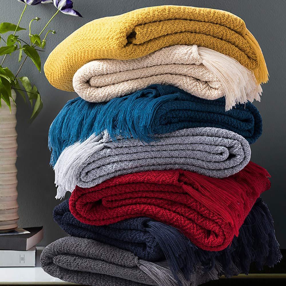 Amazon.com: QWWSHL Manta de algodón/manta de sofá, de punto ...