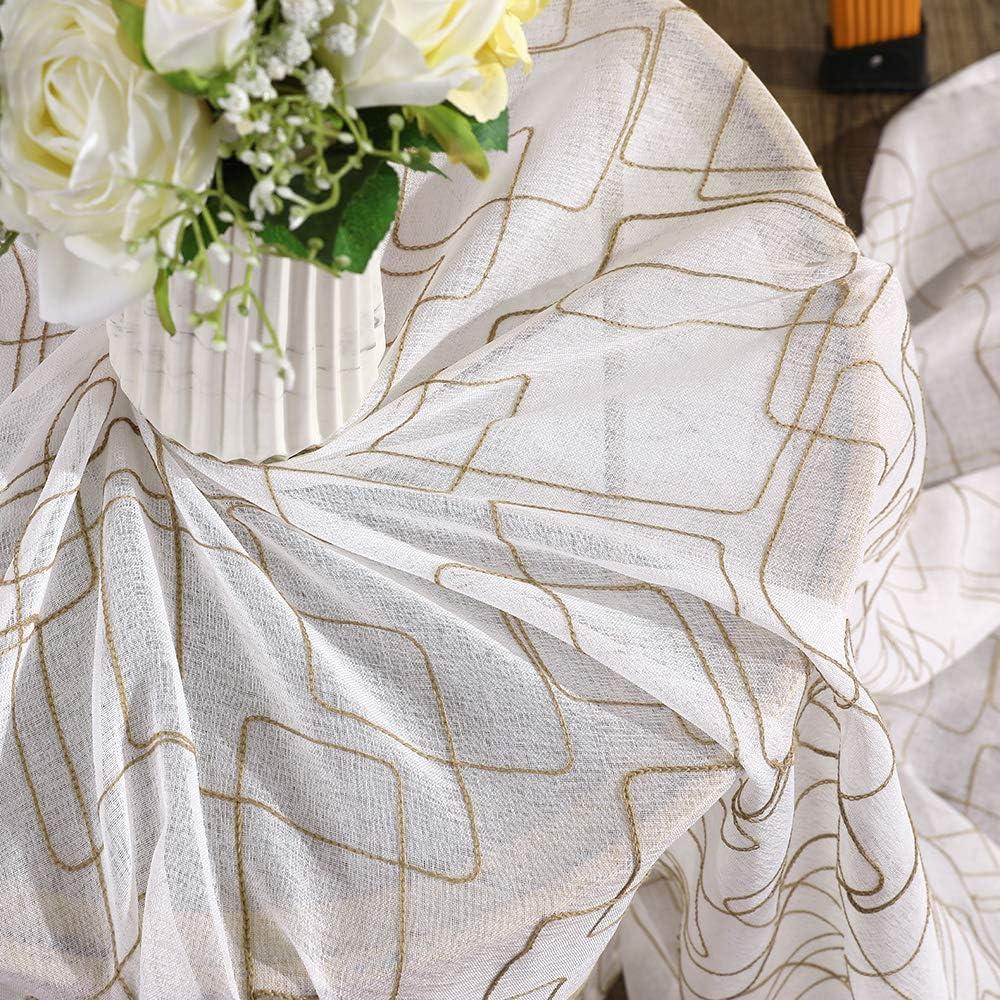 MIULEE Lot de 2 Voilages /à Oeillet Moustiquaire Broderie en Polyester Motifs Quadrilat/ère Voile Rideaux de Fen/être D/écoratives pour Salon Chambre Bureau Blanc 175 X 140cm H x L