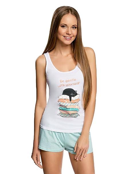 oodji Ultra Mujer Pijama de Camiseta de Tirantes y Pantalón Corto con Estampado, Blanco,