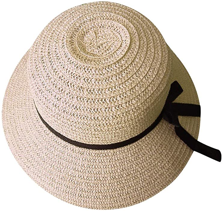 2b39f1fcd25 TWGONE Floppy Foldable Ladies Women Straw Beach Sun Summer Hat Beige Wide  Brim(Free Size