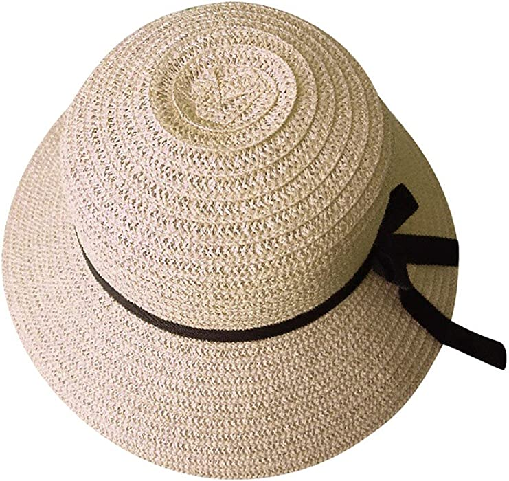 TWGONE Floppy Foldable Ladies Women Straw Beach Sun Summer Hat Beige Wide  Brim(Free Size e66e2cdfb1d9