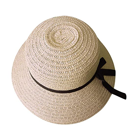 Kimloog Women Floppy Beach Straw Sun Hats Foldable Summer Caps Wide Brim  (Biege) 7a8b01cf62ed