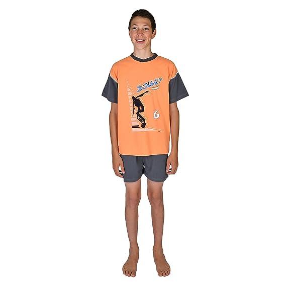 0b16745ce8 Mauz Jungen Schlafanzug/Shorty kurz Soccer Farbe: orange, Größe 116-176  Größe
