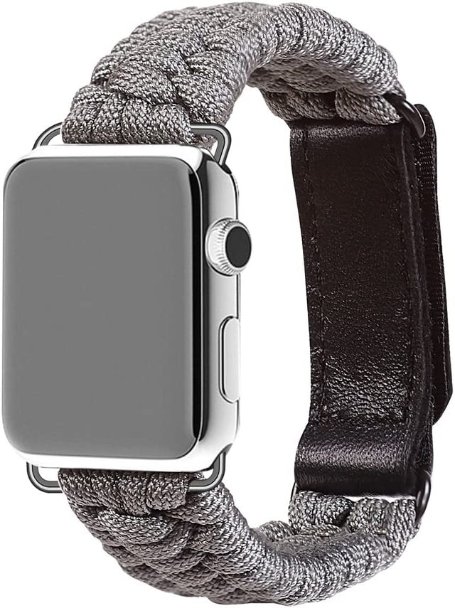 XUANTAI Apple Watch Band 44mm Series 4, Paracord Band Replacement Strap Compatible with Apple Watch Series 5 Series 4 Series 3 Series 2 Series 1 44mm 42mm, Silver