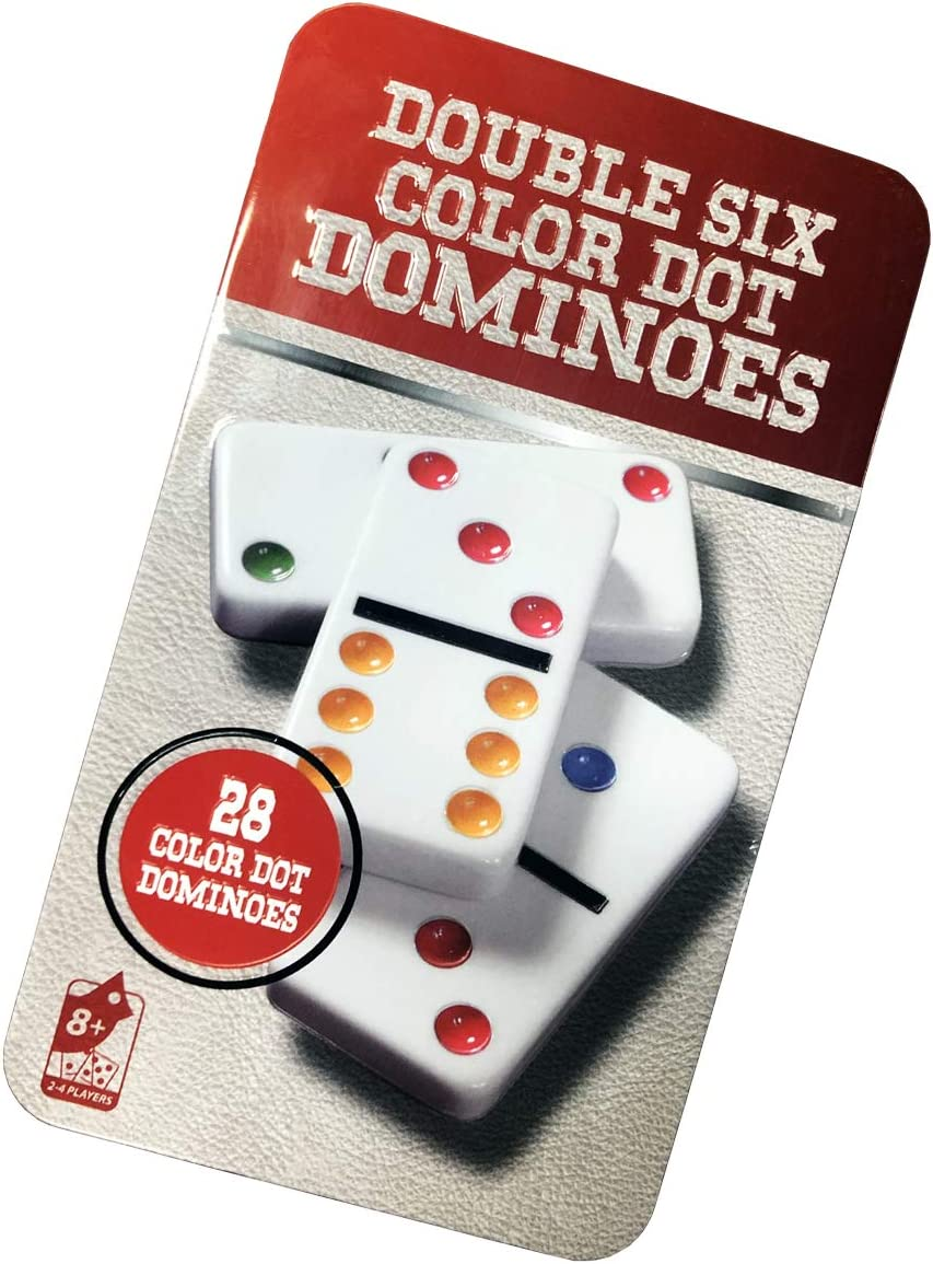 Domino Set - Premium Classic 28 Pieces,Double 6 Color Dot Dominoes Game Set in Tin Case for Boys, Girls, Party Favors and Anytime Use - Up to 2-4 Players