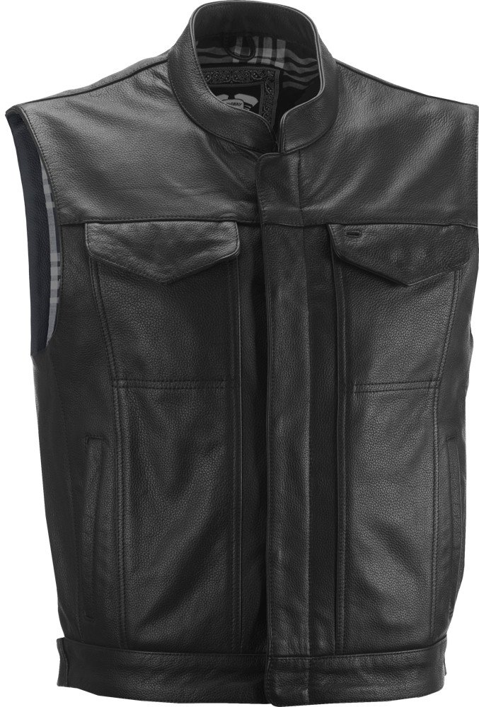Highway 21 Magnum Mens Leather Motorcycle Vest W//Concealed Carry Pocket Black Size Large