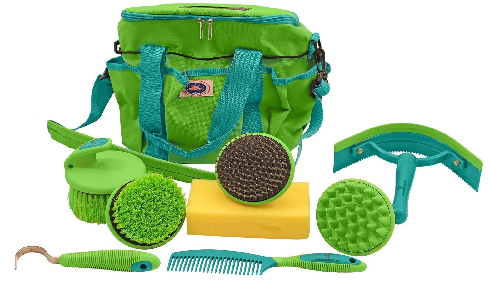 Derby Premium Comfort 9 Item Horse Grooming Kit (Turquoise/Lime Green)