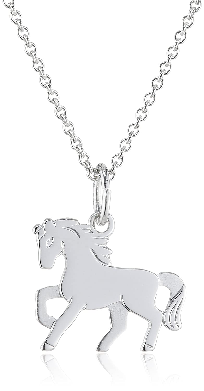 Xaana Kinder und Jugendliche Halskette Pferd 925 Sterling Silber rhodiniert 36-38 cm AMZ0198