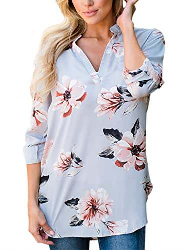 Azbro Mujer Blusa de Gasa Cuello V Estampado Floral Alto Bajo