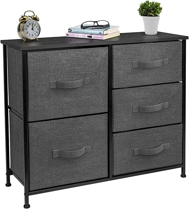 Sorbus Dresser with 5 Drawers - Furniture Storage Tower Unit for Bedroom, Hallway, Closet, Office Organization - Steel Frame, Wood Top, Easy Pull Fabric Bins (Black/Charcoal)