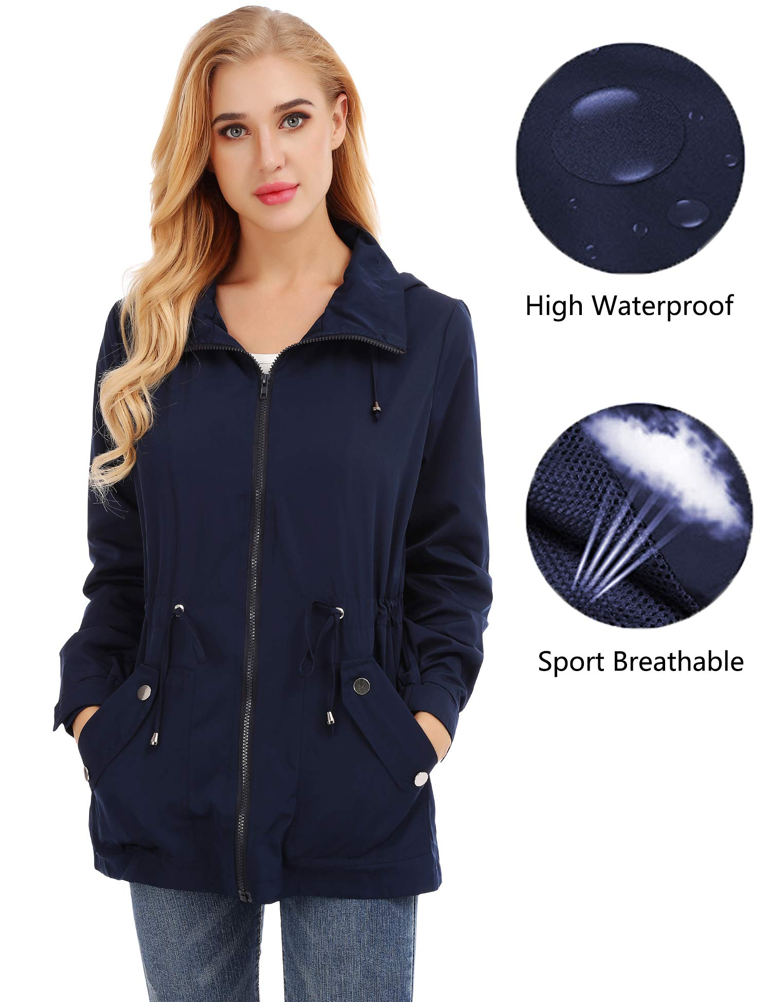 FISOUL Raincoats Women's Waterproof Lightweight Rain Jacket Outdoor Hooded Trench Navy Blue XL