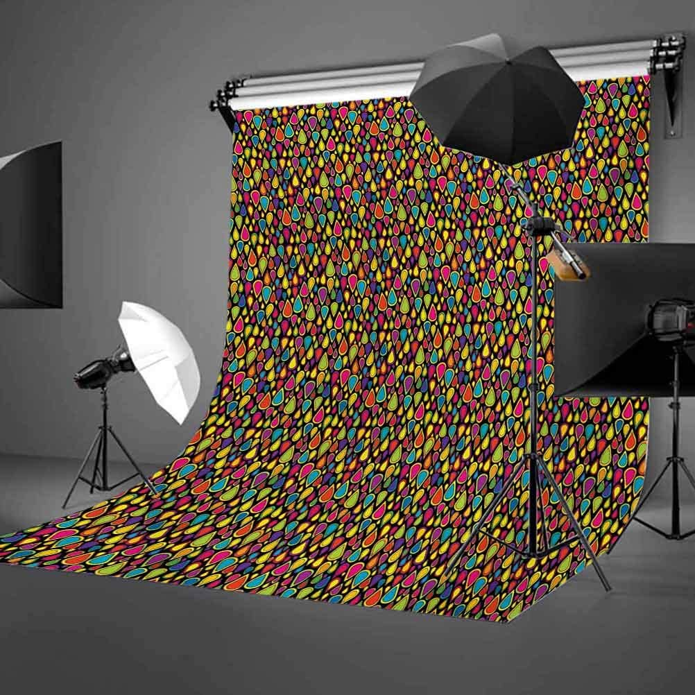 Sixties 10x12 FT Photo Backdrops,Colorful Teardrop Shapes Pattern with Retro Inspirations on Dark Toned Background Background for Baby Shower Bridal Wedding Studio Photography Pictures Multicolor