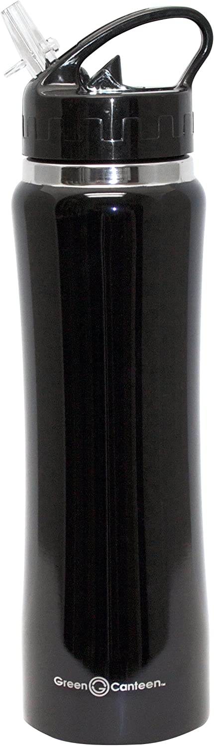 Green Canteen Vacuum Double Wall Stainless Steel Thermal Water Bottle, 25 oz, Black