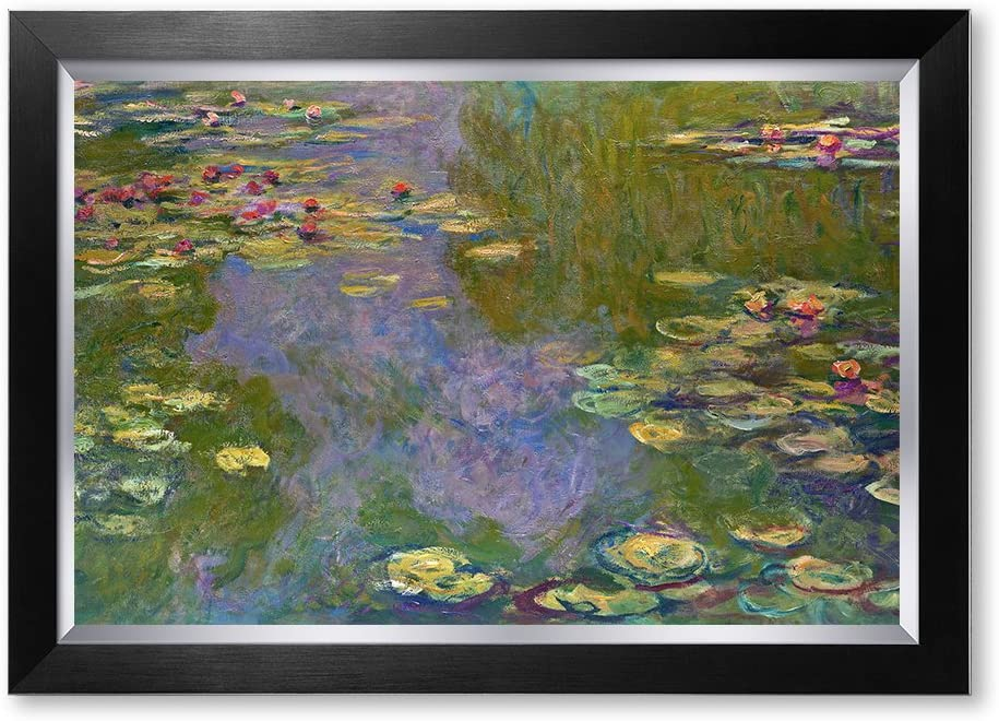 DECORARTS - Water Lilies by Claude Monet. Classic Art Reproduction, Giclee Print on Canvas. Ready to Hang Framed Wall Art for Wall Decor. Total Size w/Frame: 28x20