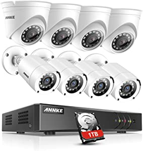 ANNKE Surveillance Camera System 8CH 1080P Lite H.264+ DVR with (8) HD 1080P Outdoor Weatherproof Cameras CCTV Security Camera System, 1TB Surveillance Hard Drive, Email Alert with Snapshots