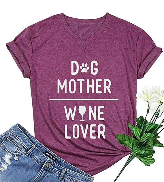 b7ff30f2 MOMOER Dog Mom Mother's Day T-Shirt Women Dog Mother V-Neck Short Sleeve
