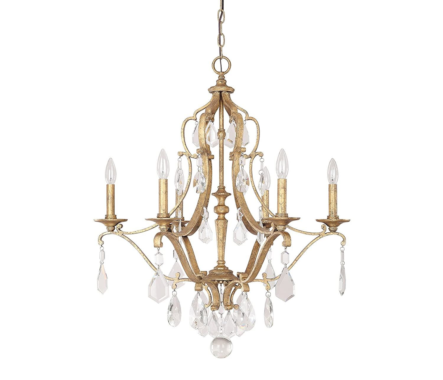 Capital Lighting 4186AG CR Blakely 6 Light Chandelier, Antique Gold Finish  With Clear Crystal Accents     Amazon.com