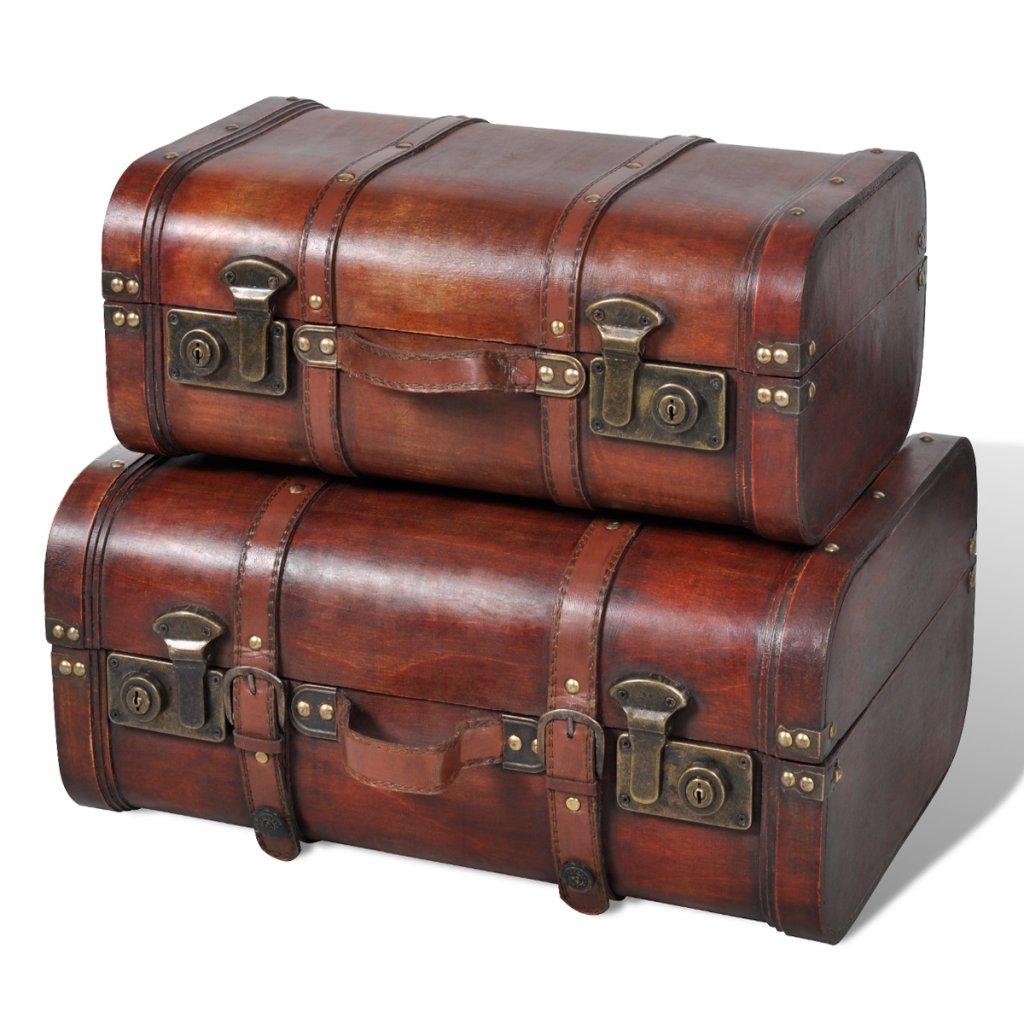 Festnight Vintage Wooden Treasure Chest Brown 2 PCS by Festnight