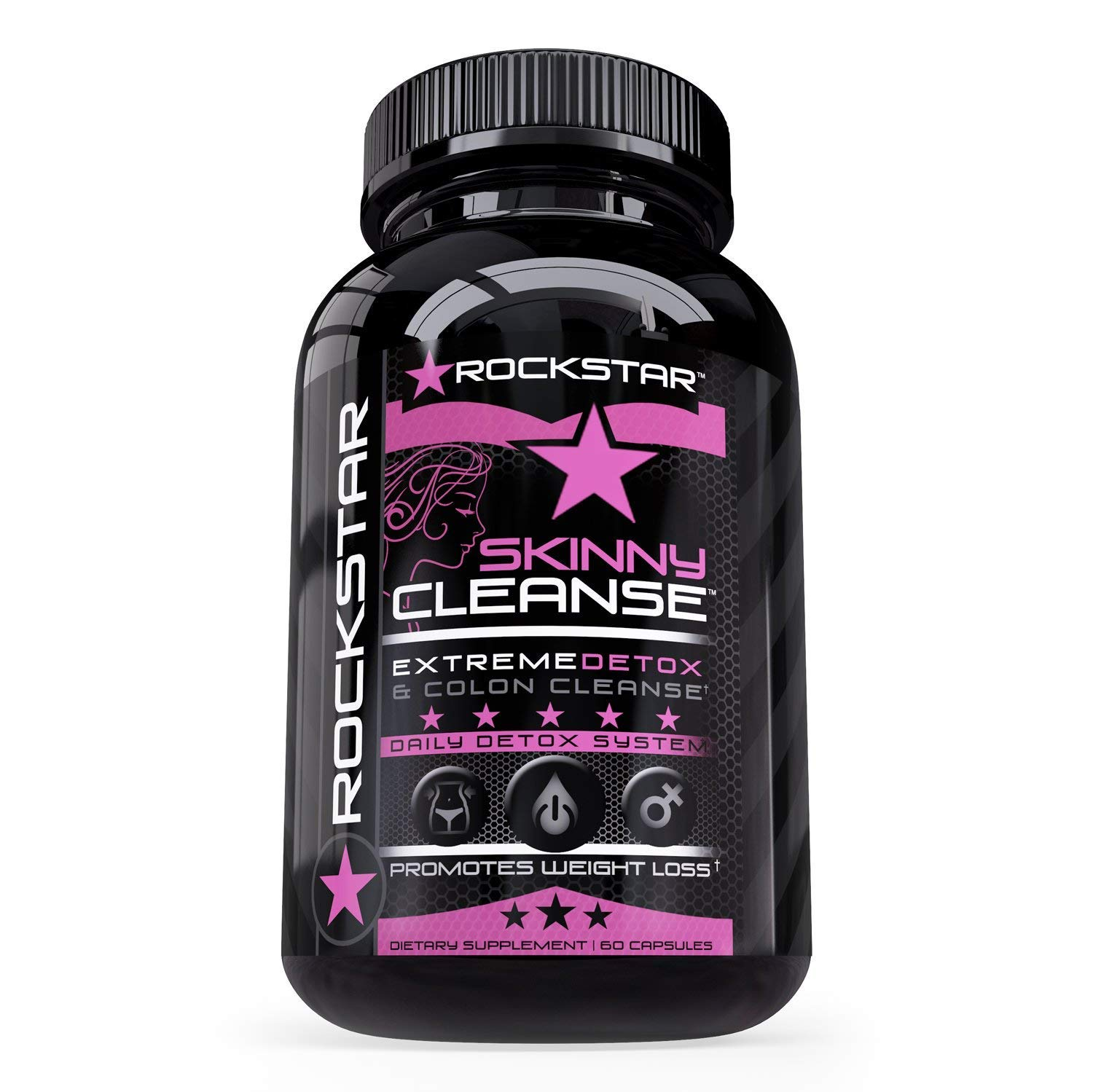 Rockstar Skinny Cleanse Colon Cleanser & Detox, 1 Fast Weight Loss for Women & Men. Detox with Turmeric, Constipation Relief. 100% Pure Colon Detox Pills, Flush Toxins, Boost Energy, 60 Count