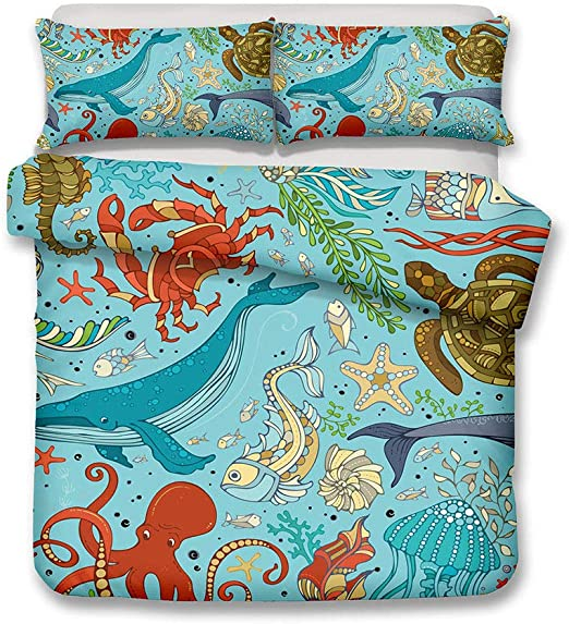 3D Sea World Animal Beach Ocean Bedding Set Duvet Cover Pillowcase Quilt Cover