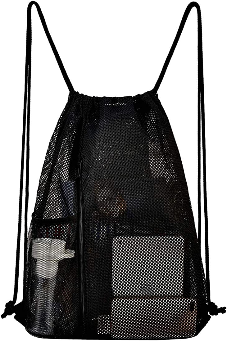 Heavy Duty Mesh Drawstring bag for Soccer Ball, Beach Toys -Drawstring Backpack Sports Gym Bag for Women Men -Large Size with Zipper and Water Bottle Mesh Pockets