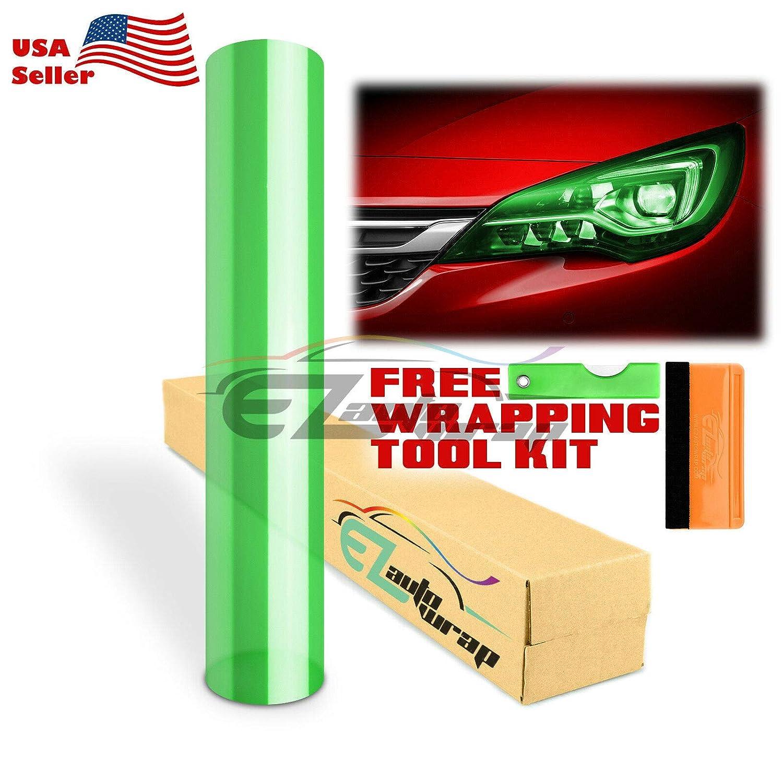 EZAUTOWRAP Free Tool Kit 12x24 1FT x 2FT Glossy Dark Black Smoke Headlight Taillight Fog Light Side Marker Vinyl Tint Film Self Adhesive