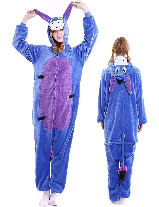Amazon.com  Adult Onesies Animal Pajamas Plus One Piece Cosplay Halloween  Costume Sleepwear for Women Men  Clothing dc2e64a65