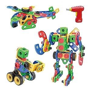 MEIGO STEM Learning Toys - Toddlers Educational Construction Engineering Building Blocks Set Best Preschool Gift Kit for Kids 3 4 5 6 7 8 Year Old Boys Girls (117pcs Upgraded Version)