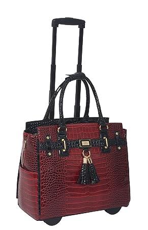 Bordeaux Rouge et Noir Pince crocodile à iPad Tablette ou ordinateur portable sac fourre-tout à roulettes KZVavhIA
