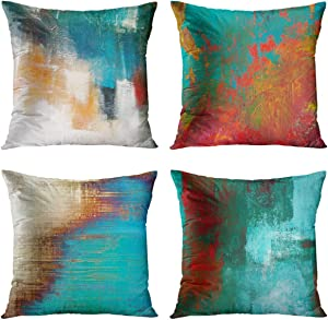 Britimes Throw Pillow Covers 18x18 Inches Home Decor Set of 4 Pillow Cases Decorative for Bed Sofa Cushion Couch Outdoor Turquoise Pillowcases (Teal and Orange) …