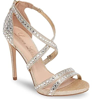 df47a1fb6 Lauren Lorraine Amore Nude Gold Rinestone Embellished Stappy Formal Dress  Sandal (5.5)