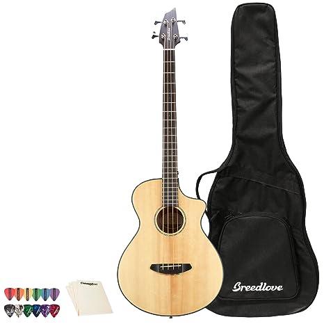 Breedlove Pursuit Concert - Guitarra acústica eléctrica de 12 cuerdas con 12 púas y gamuza de