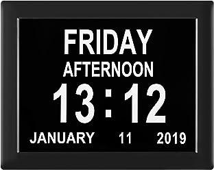 Dementia Clock Digital Calendar Clock - 8 Alarm Options,Extra Large Non-Abbreviated Day