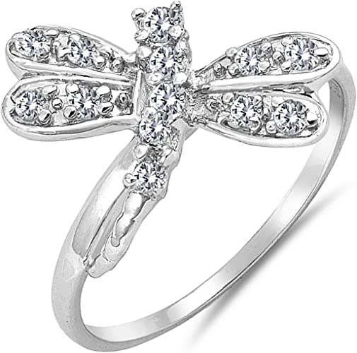 Dragonfly Design Cluster Cubic Zirconia Womens 925 Sterling Silver Ring Sizes 5-10