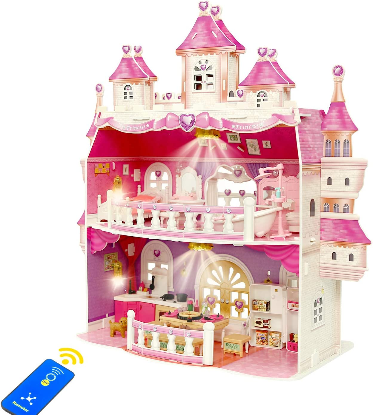 KAINSY Dollhouse for Girls, Large Castle Two-Story Playhouse Dolls Dream House Playset with Dolls, Lights, Furniture and Accessories Kit, Included Living Room, Bedroom, Kitchen and Bathroom, Pink